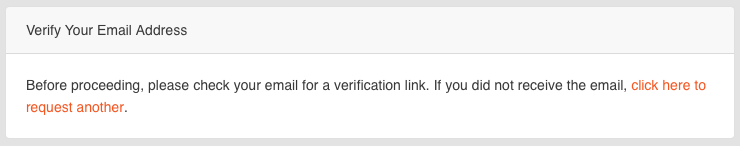 Laravel's email verification message